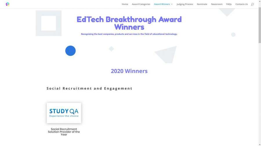 StudyQA wins the 'Social Recruitment Solution Provider of the Year' award