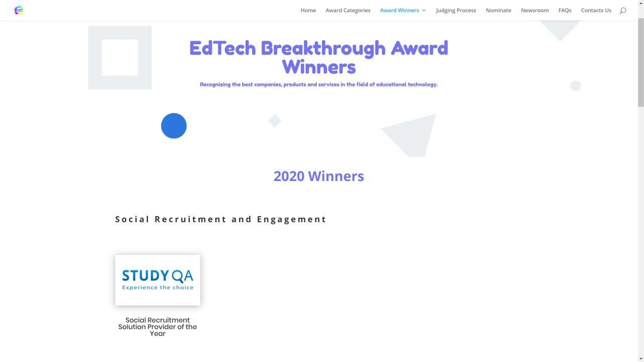 StudyQA wins the 'Social Recruitment Solution Provider of the Year' award in the EdTech Breakthrough Awards 2020